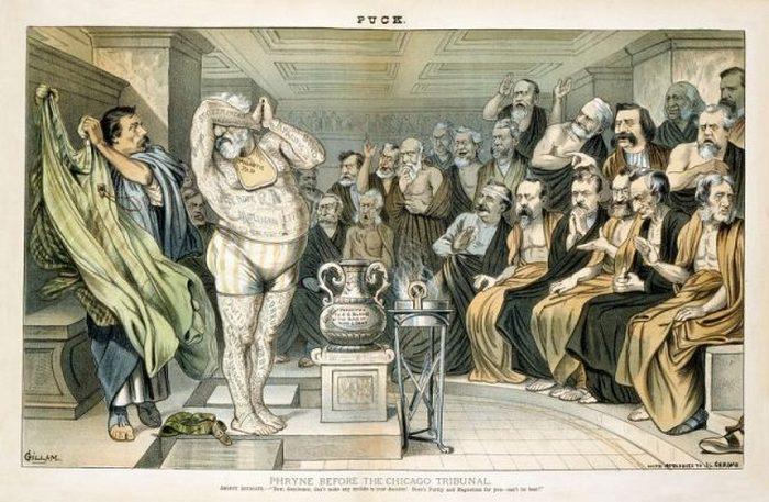 Иллюстрация 1884 года в журнале Puck высмеивает Джеймса Блейна как татуированного с ноги до головы множеством несмываемых скандалов. Образ основан на картине Жан-Леона Жерома «Фрина перед Ареопагом»